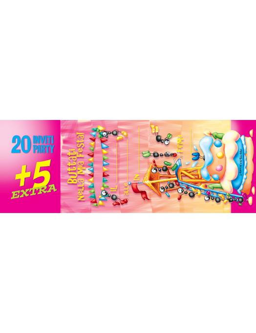 Inviti compleanno Torta 25pz-0