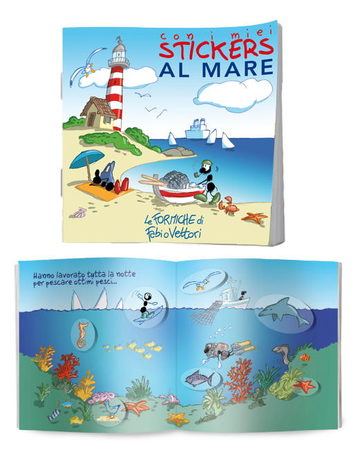 Al mare, libretto con adesivi attacca-stacca Le Formiche di Fabio Vettori