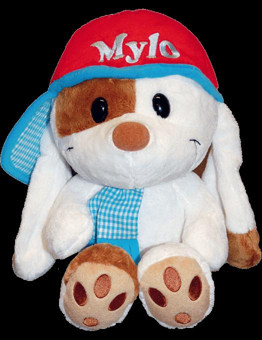 Peluche Mylo con berretto e sciarpa