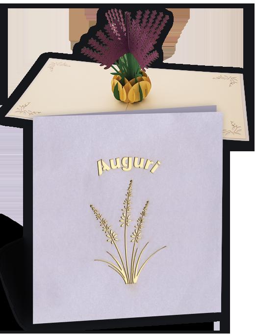 Biglietto di auguri pop up con fiori viola