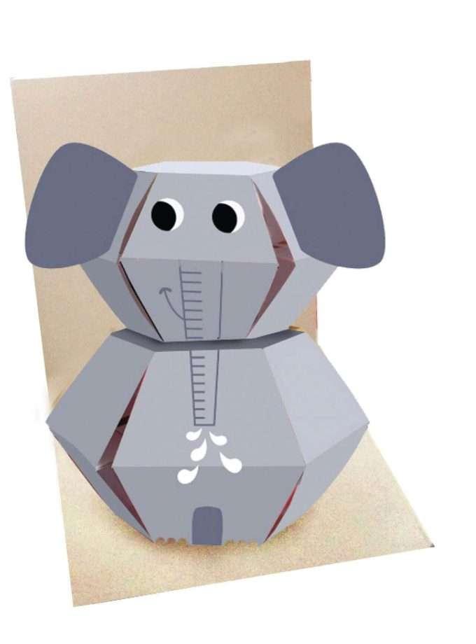 Elefante Biglietto Pop Up interno