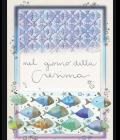 Biglietto per la Cresima con pesciolini e colori pastello - Goccioline