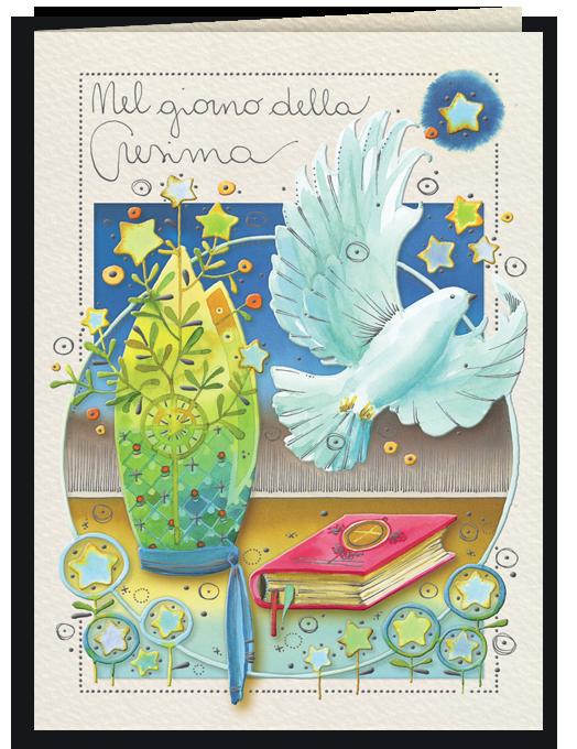 Biglietto di auguri per Cresima illustrato con gli acquerelli - Goccioline