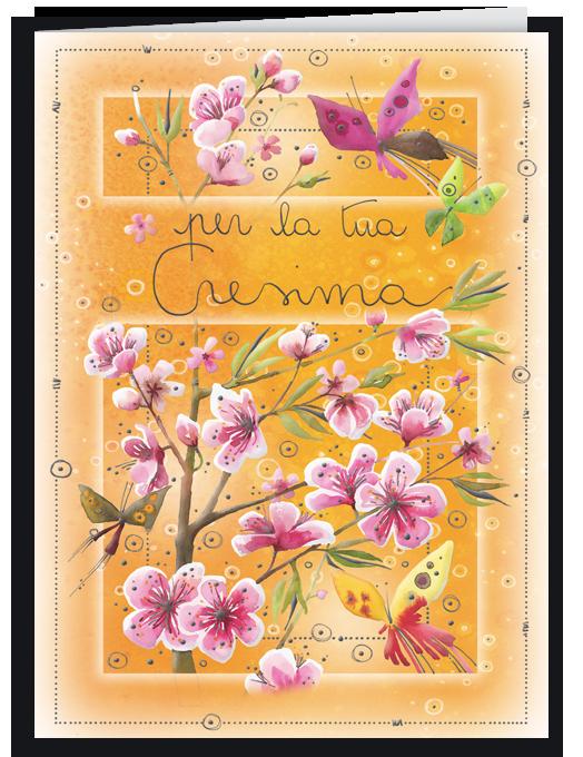 Biglietto Cresima con pesco in fiore e farfalle - Goccioline