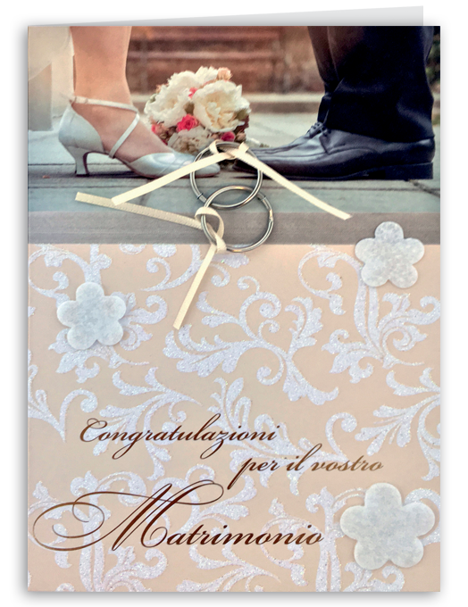 Biglietto per matrimonio con anelli applicati