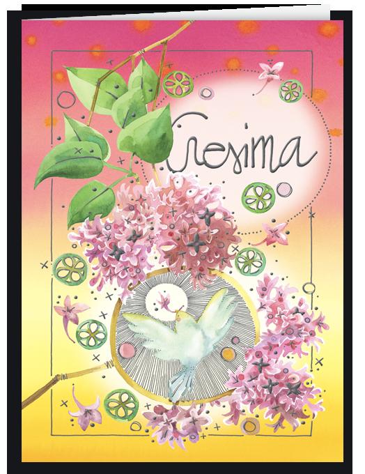 Colomba e fiori rosa-0