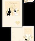 Biglietto per matrimonio portasoldi illustrato con una coppia di bulldog francese