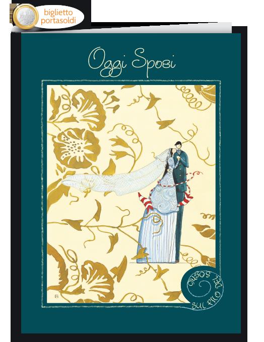 Biglietto per matrimonio portasoldi illustrato - Oggi sposi