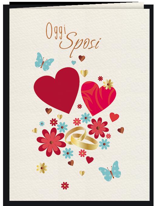 Biglietto per matrimonio illustrato con cuori e fiori - Oggi sposi