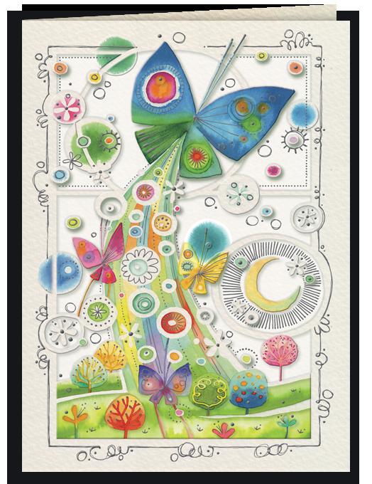 Biglietto di auguri arcobaleno e farfalle-0