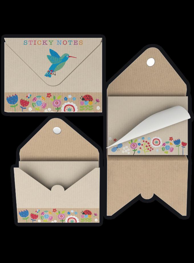 Set di foglietti adesivi di carta decorati con fiorellini e con custodia rigida
