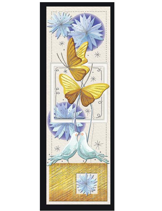Colombe e farfalle gialle-0
