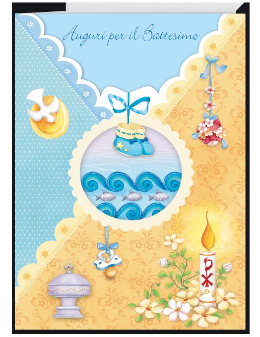 Biglietto per battesimo scarpette blu-0