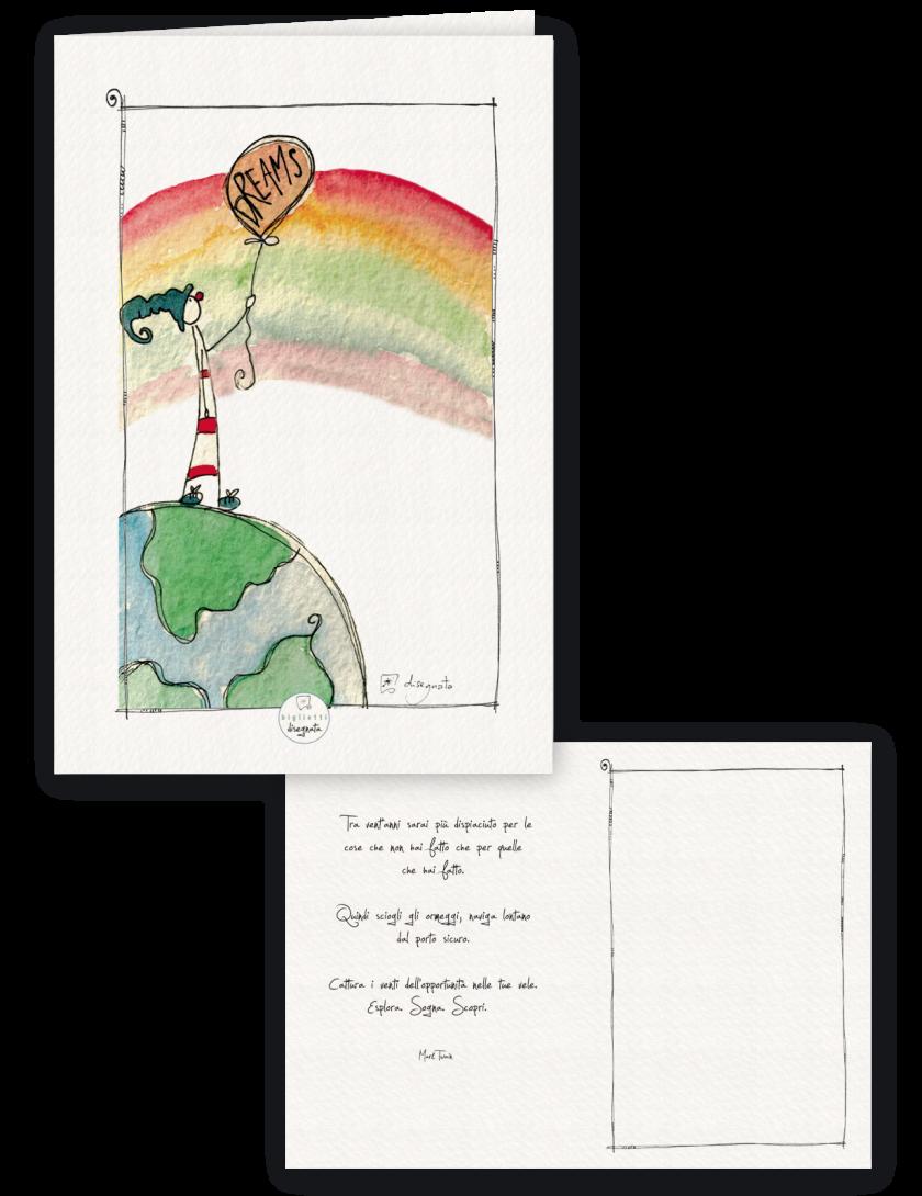 Biglietto di compleanno illustrato con un arcobaleno, all'interno aforisma sulla vita di Mark Twain