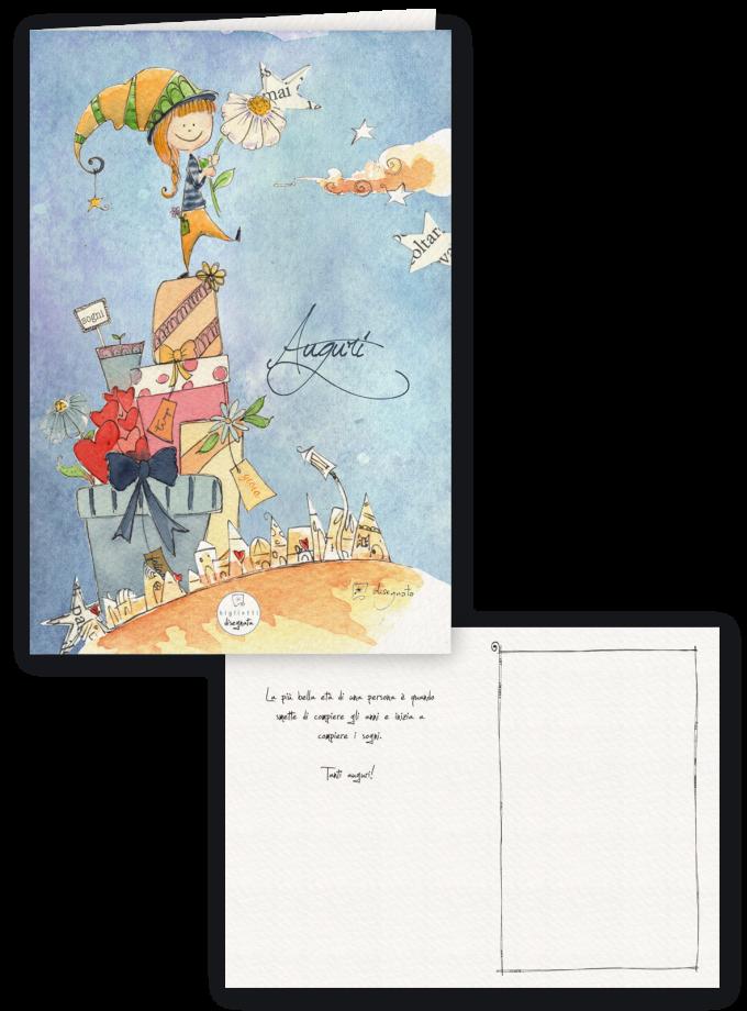 Biglietto di compleanno illustrato con frase di auguri all'interno