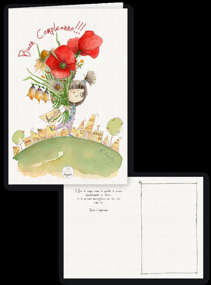Papaveri e fiori di campo - Biglietto di compleanno illustrato con frase di auguri all'interno