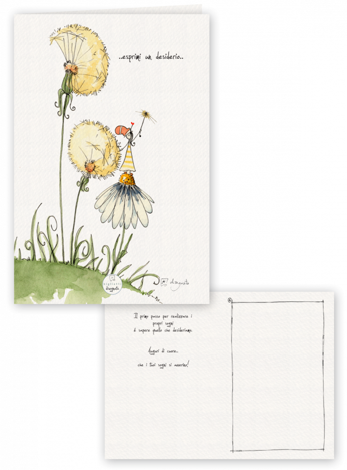 Soffioni - Biglietto di auguri illustrato con messaggio all'interno