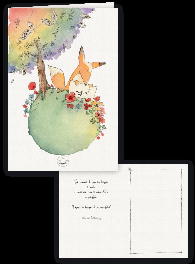 Volpe - Biglietto di auguri illustrato con una frase del Piccolo Principe all'interno