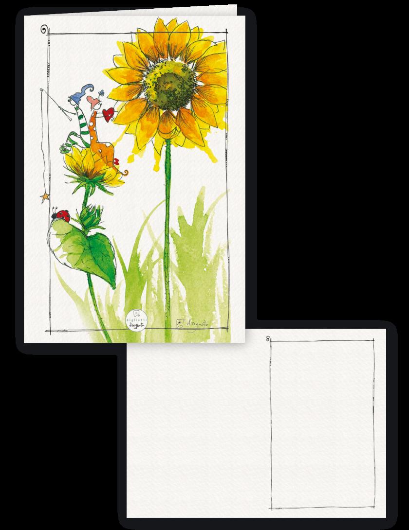 Girasole - Biglietto senza testo, illustrato con un girasole