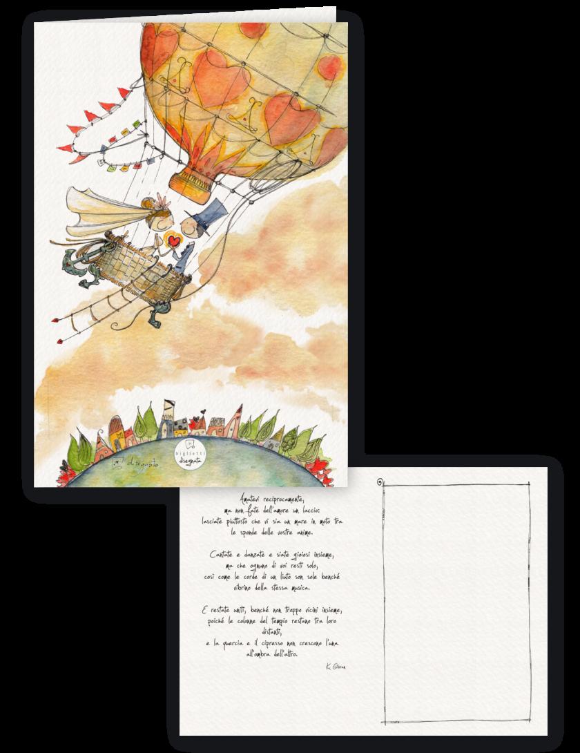 Sposi in mongolfiera - Biglietto per matrimonio con poesia stampata all'interno