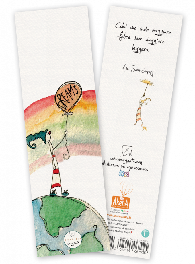 Segnalibro con illustrazione in acquerello e frase sui viaggi