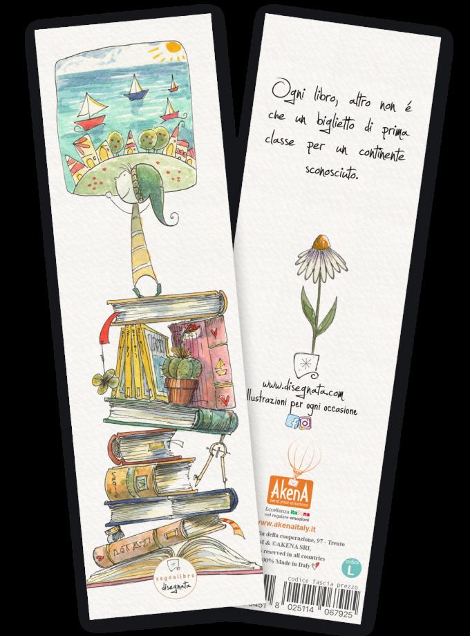 Segnalibro illustrato ad acquerello con aforisma sui libri