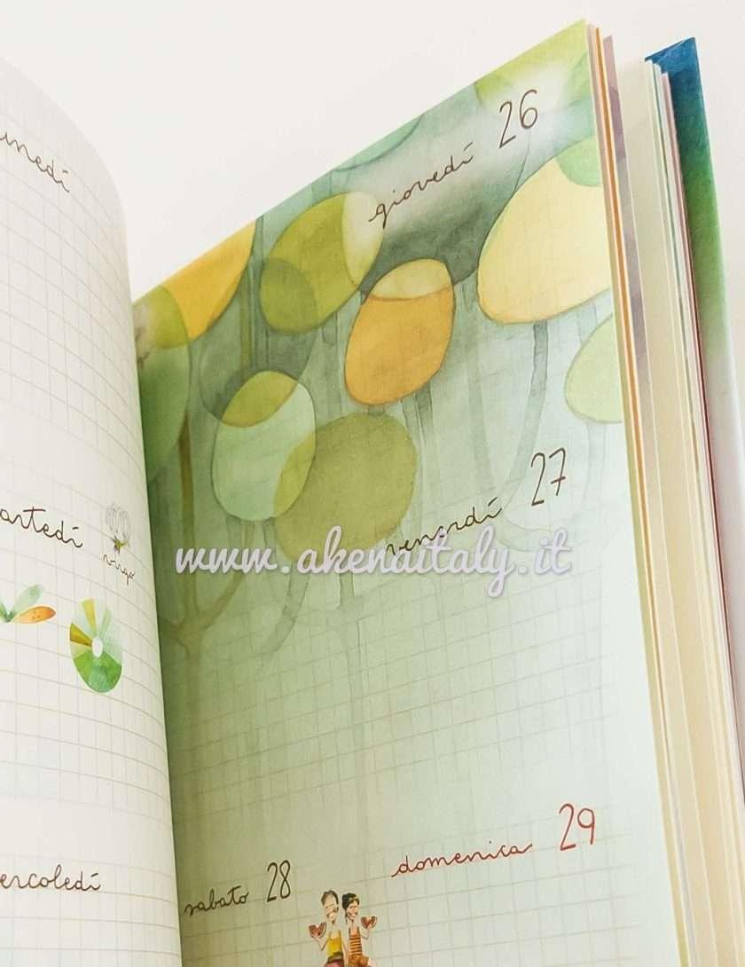 Agenda settimanale Goccioline 2021 Verde chiaro - Pagine interne colorate