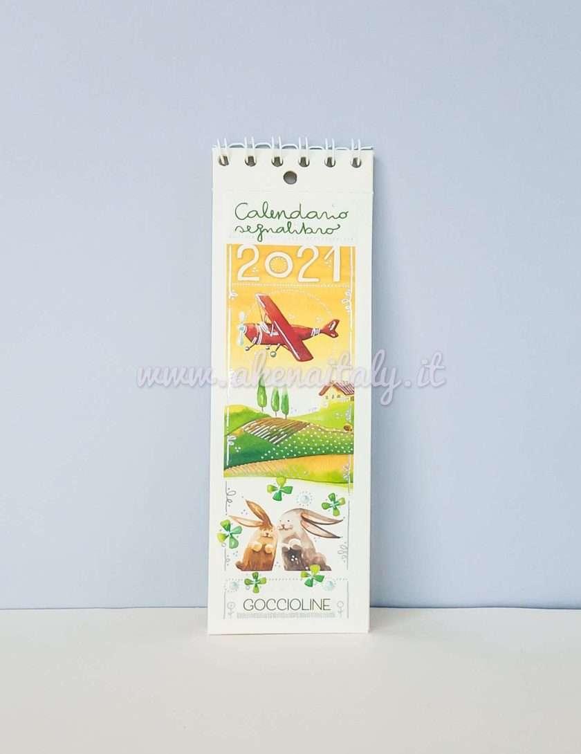 Calendario Segnalibro Goccioline 2021 - Copertina con aereo e coniglietti