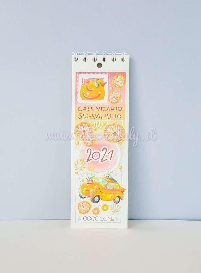 Calendario Segnalibro Goccioline 2021 - Fiat 500 gialla in copertina
