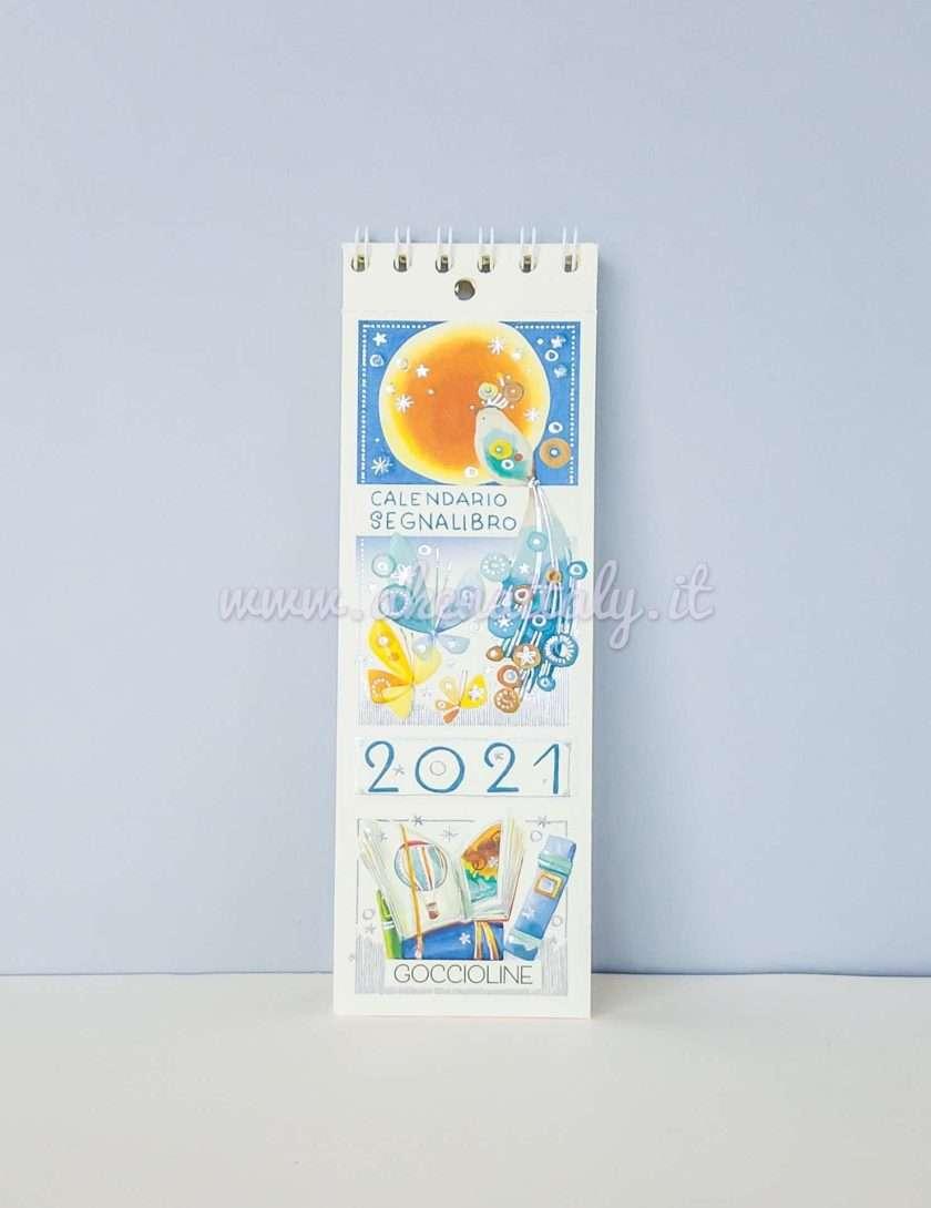 Calendario Segnalibro Goccioline 2021 - Copertina Luna e uccellino