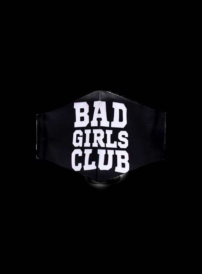 Mascherina in tessuto nero con scritta Bad Girls Club lavabile e regolabile