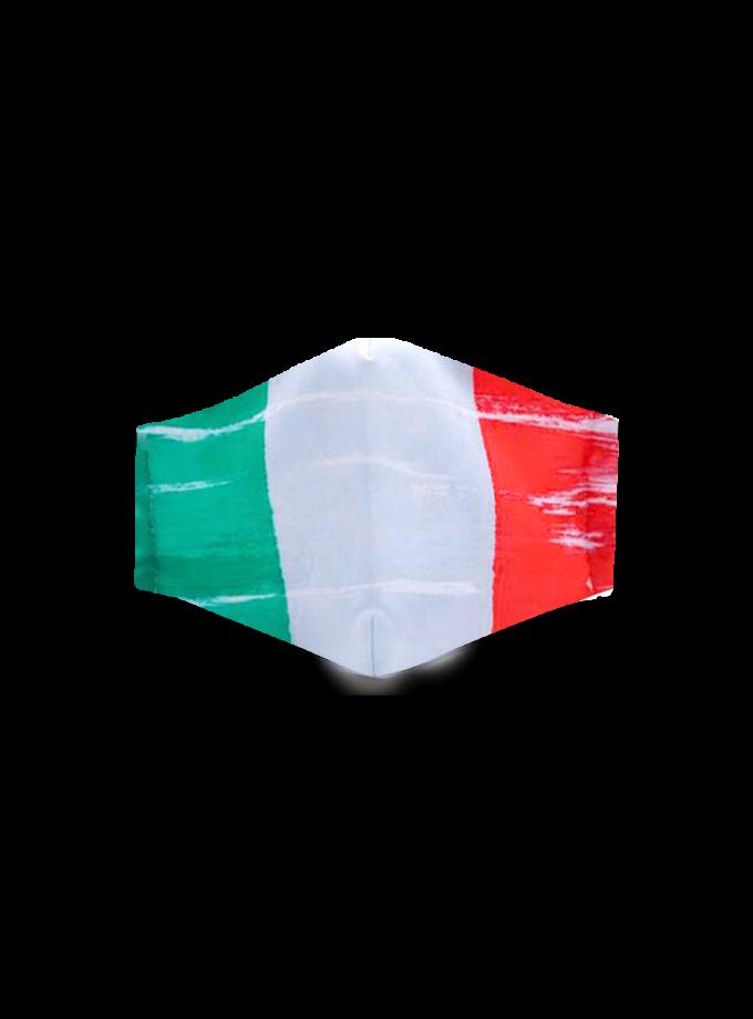 Mascherina bandiera italiana in tessuto lavabile e regolabile