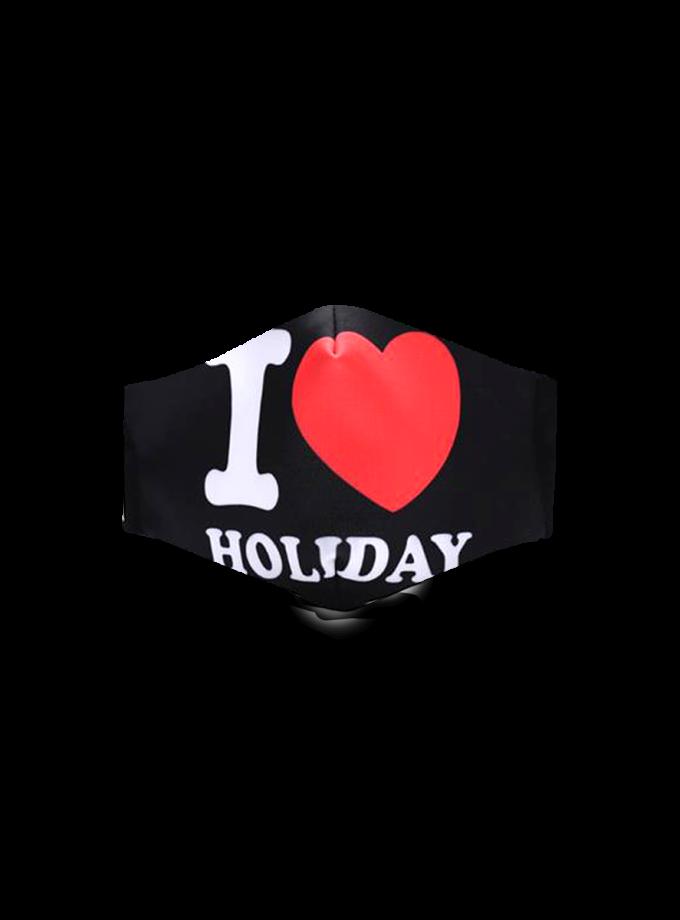 Mascherina in tessuto nero con scritta I love Holiday lavabile e regolabile