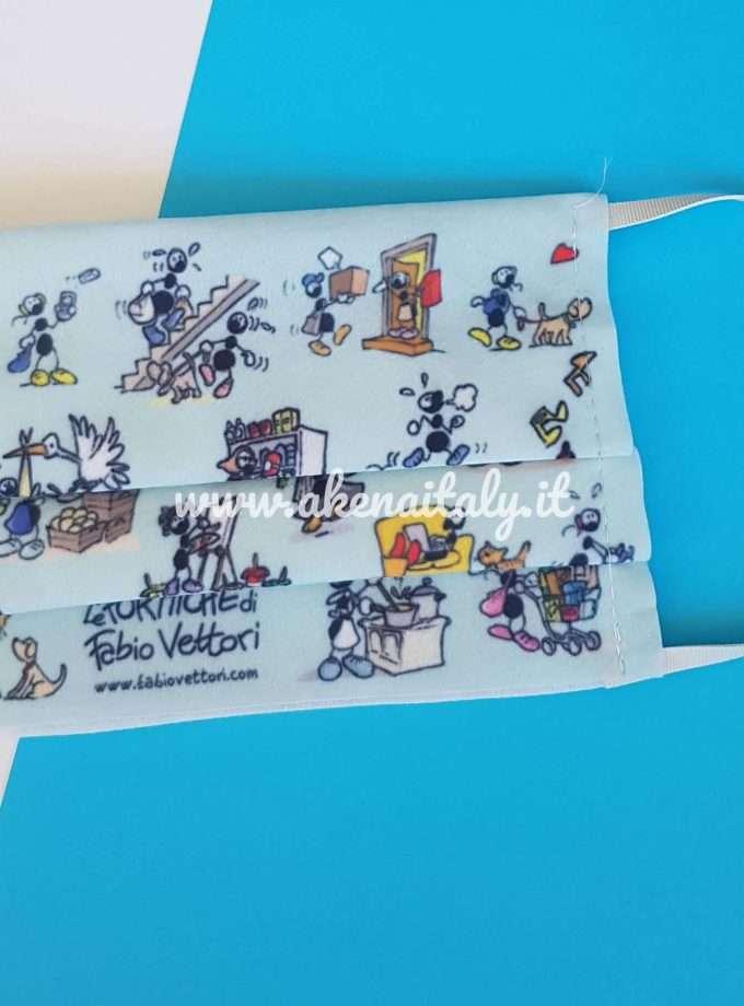 Mascherina in tessuto lavabile Le Formiche di Fabio Vettori - Sfondo azzurro