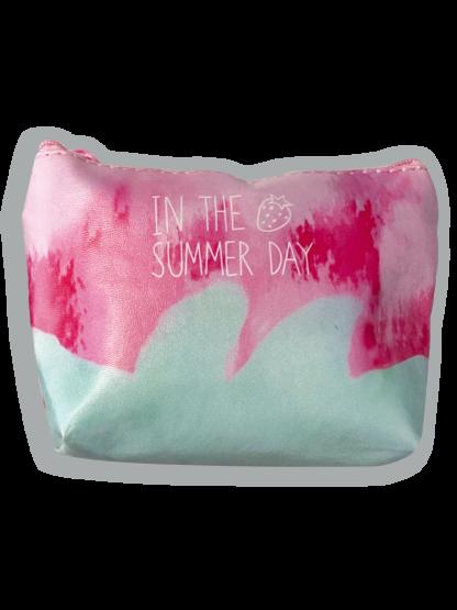Trousse porta mascherina in tessuto chiusura con cerniera - Sfondo rosa intenso e verde mare