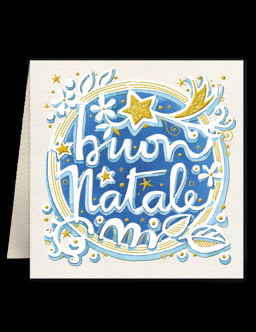 Mini biglietto di Natale Goccioline- Buon Natale blu