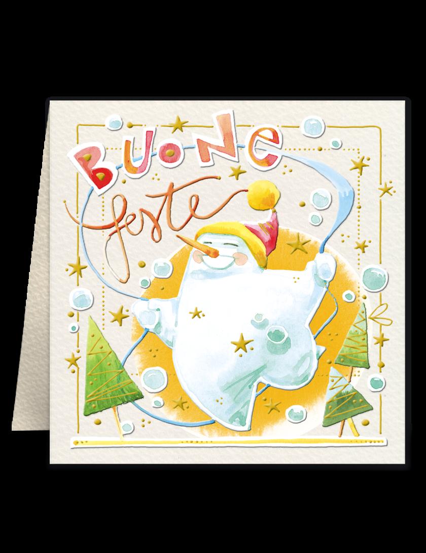 Mini biglietto di Natale Goccioline - Pupazzo di neve sorridente