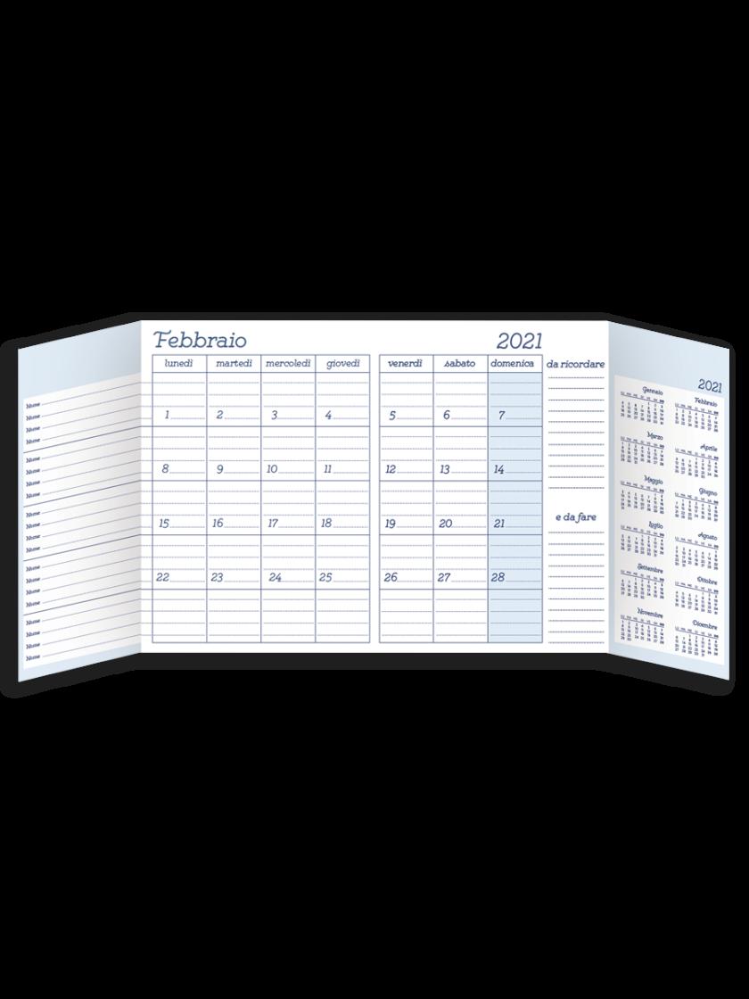 Planner mensile A4 vista interna con patelle funzionali aperte