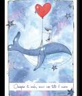 """Puzzle Disegnata """"Leggera"""" Balena con cuore rosso"""
