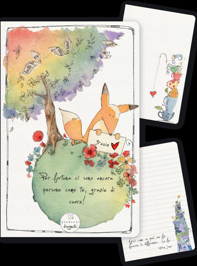 Quaderno A6 illustrato - Volpe e frase per ringraziare
