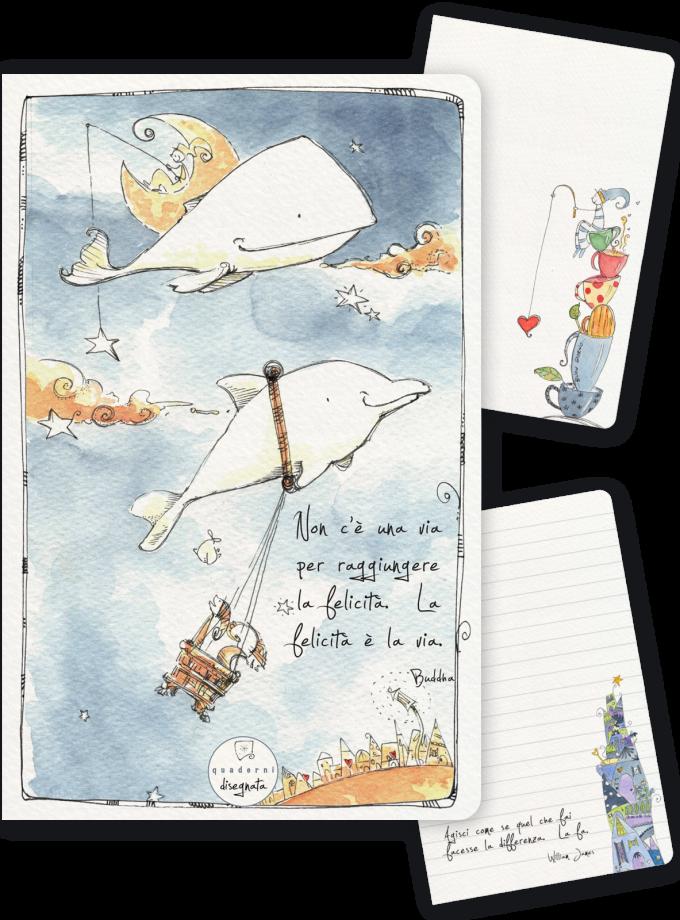 Quaderno A6 illustrato - Balena e delfino