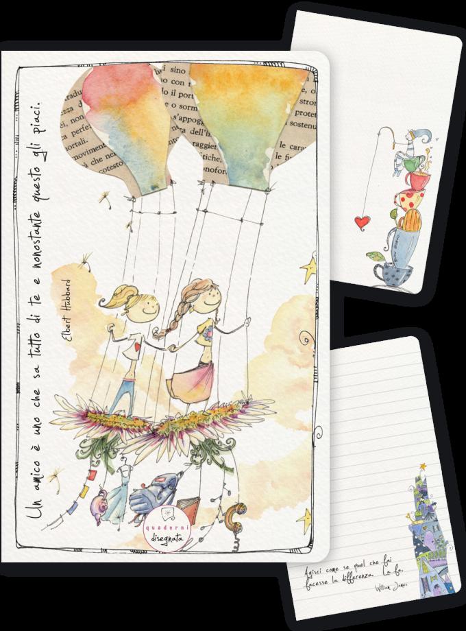 Quaderno A6 illustrato, dedicato all'amicizia