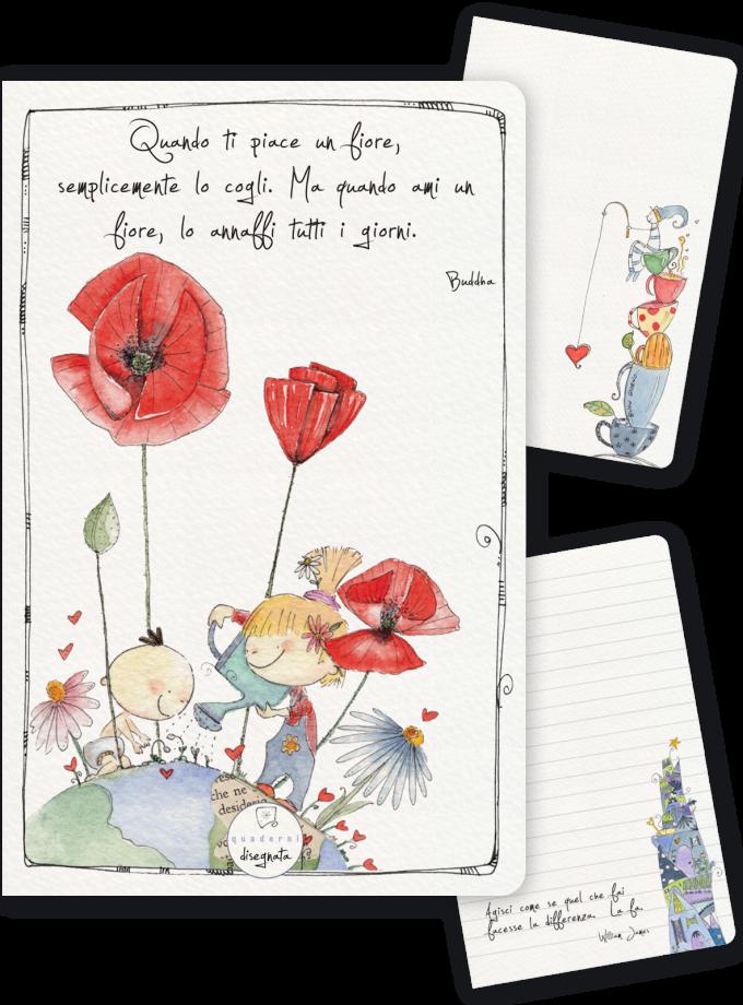 Quaderno A6 illustrato con papaveri rossi
