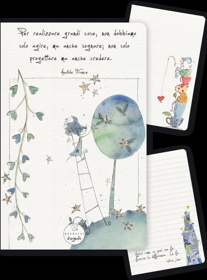 Quaderno A6 illustrato, con frase motivazionale in copertina