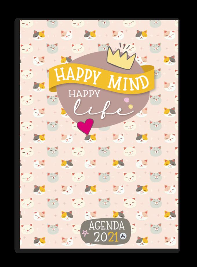 Agenda mensile A4 copertina metallizzata Happy Mind Happy Life con gattini