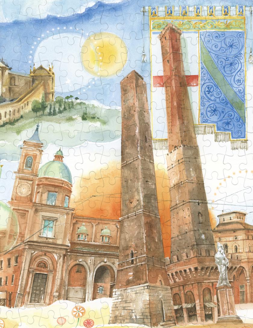 Puzzle Bologna Goccioline 1080 pezzi 50x70 cm - Dettaglio Torre degli asinelli e Garisenda