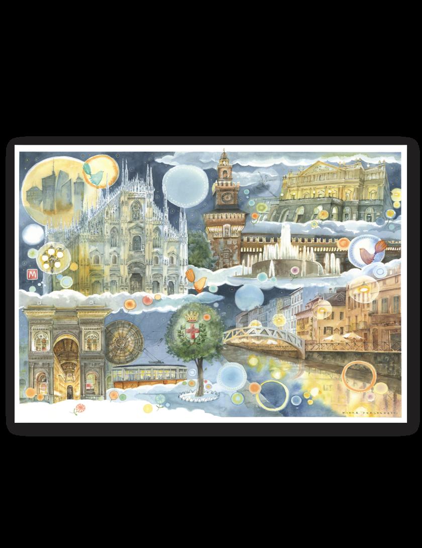 Puzzle Milano Goccioline 1080 pezzi 50x70 cm - Dettagli della città di Milano