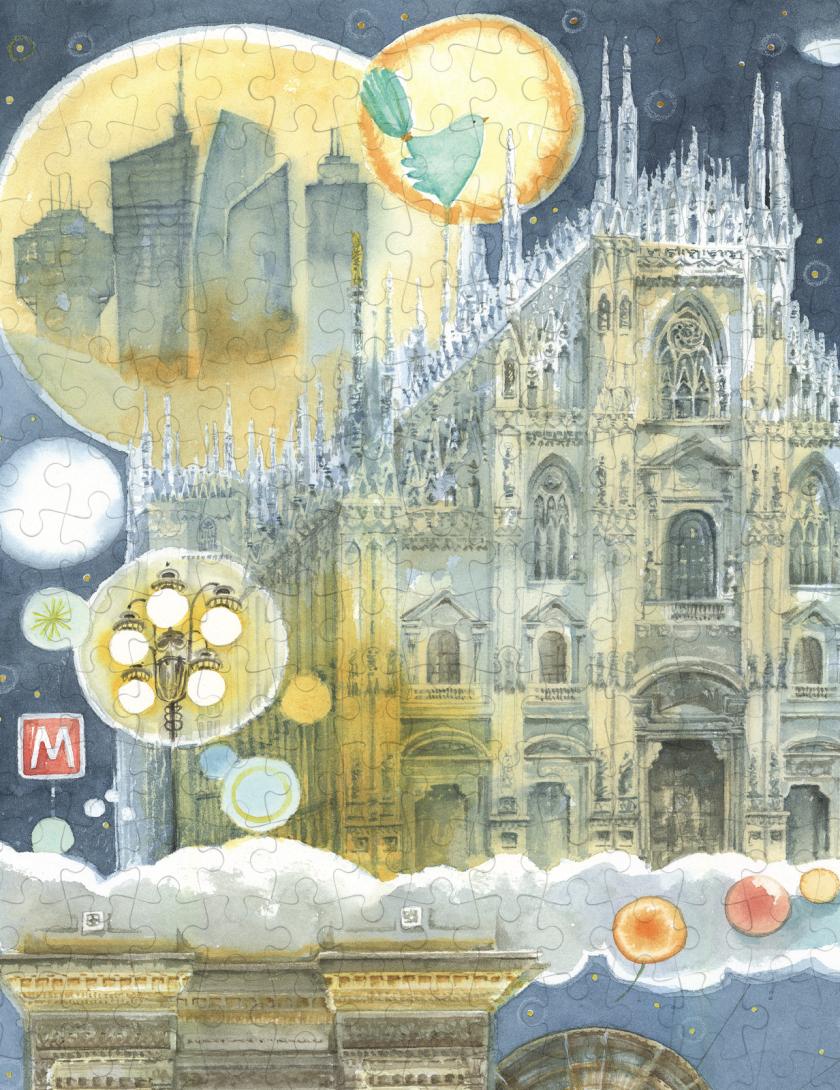 Puzzle Milano Goccioline 1080 pezzi 50x70 cm - Dettaglio: il Duomo di Milano