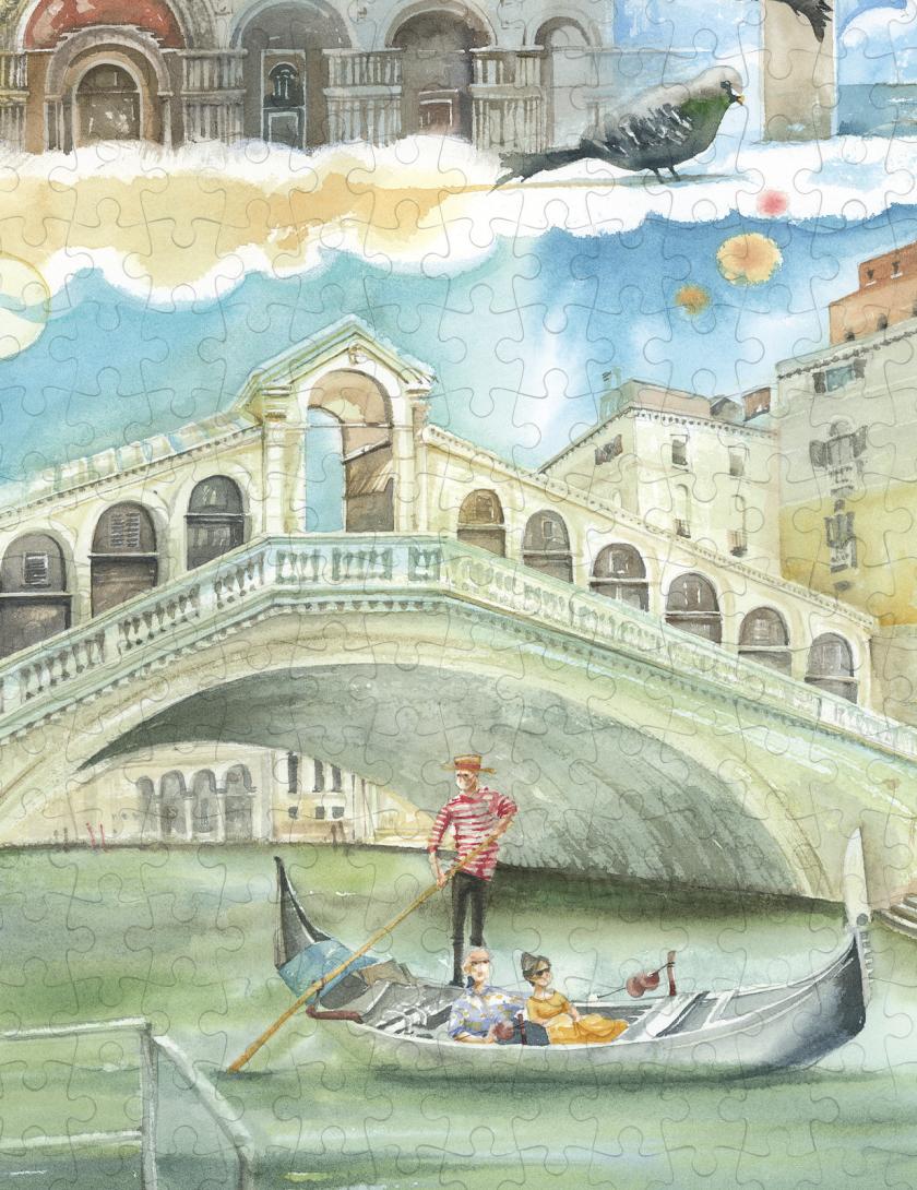 Puzzle Venezia Goccioline 1080 pezzi 50x70 cm - Dettaglio: Ponte di Rialto
