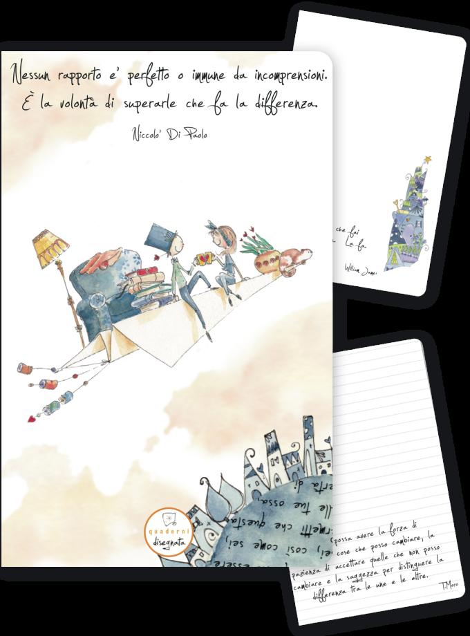 Quaderno A6 con una frase sull'amore in copertina